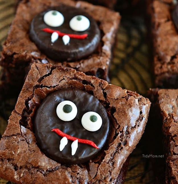 Minty Fudge Vampire Brownies | Fun and Spooky Halloween Party Food Ideas For Your Little Monsters