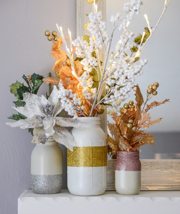 Glittery Winter White Mason Jars | Easy Table Centerpieces You Can DIY Before New Year's Eve