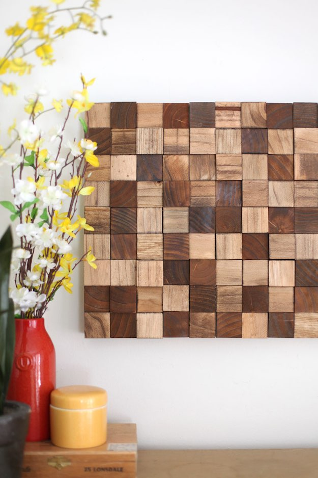 Wooden Mosaic Wall Art | Creative Wood Wall Art Ideas You Can Do On Weekends
