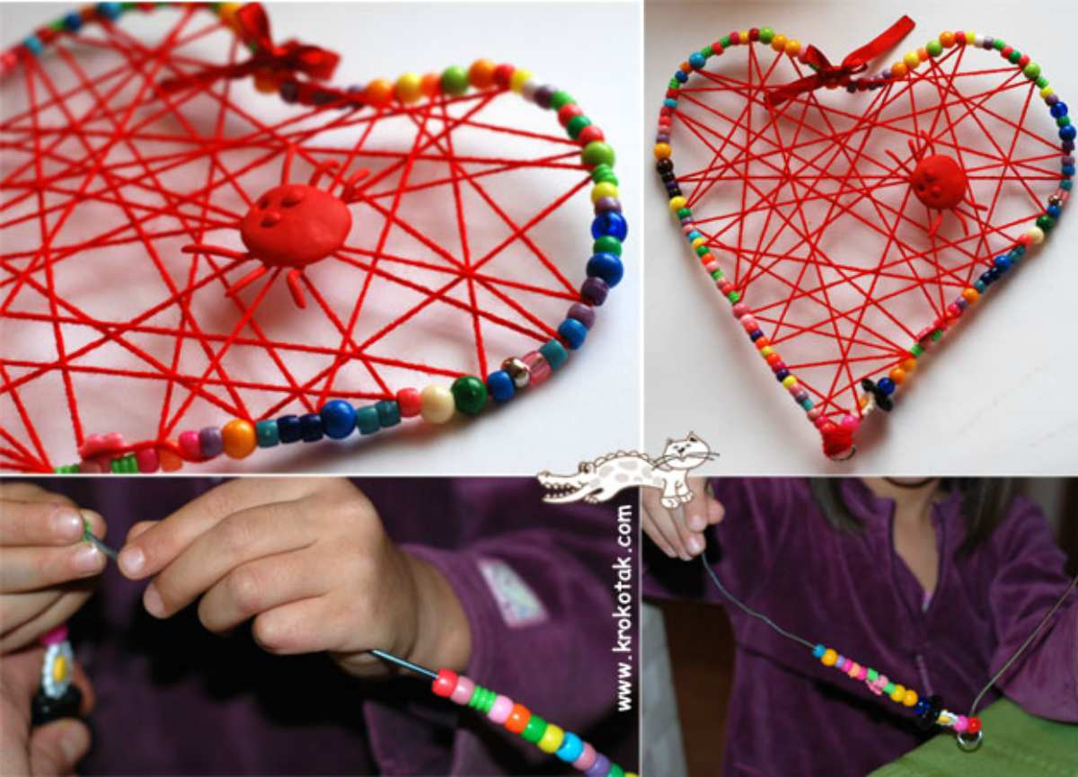 Heart strings hanger | DIY Valentine's Day Crafts For The Kids