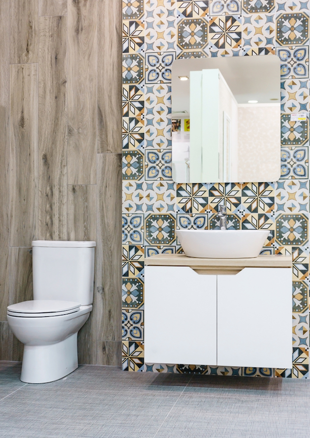 Check out 9 DIY Bathroom Tile Ideas at https://diyprojects.com/bathroom-tile-ideas-for-less/