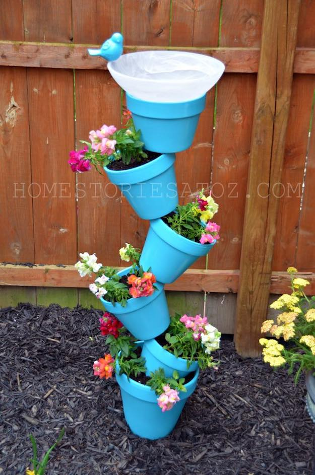 Tower Garden Planter Bird Bath | Easy Backyard Projects To DIY With The Family