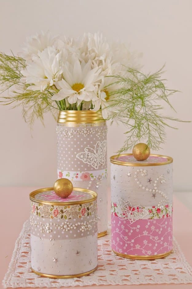 Pretty Tin Cans | Creative Ways to Personalize with Washi Tape
