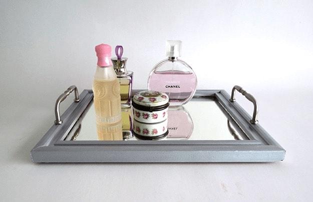 Mirrored Vanity Tray | Incredible DIY Bathroom Makeover Ideas