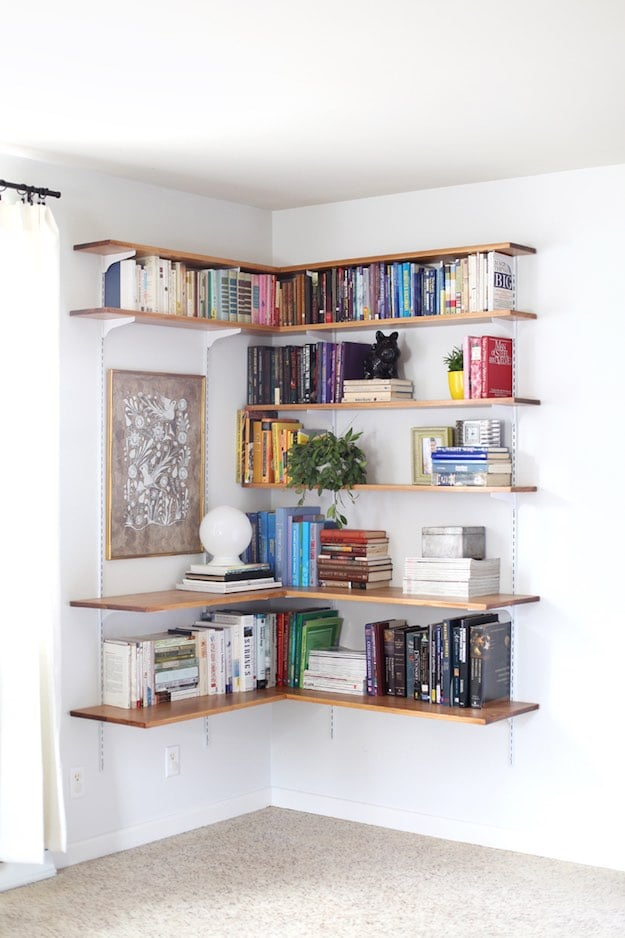 Floating Corner Shelves | Simple Living Room Shelving Ideas