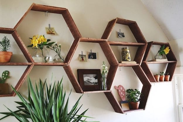 Honeycomb Shelves Simple Living Room Shelving Ideas
