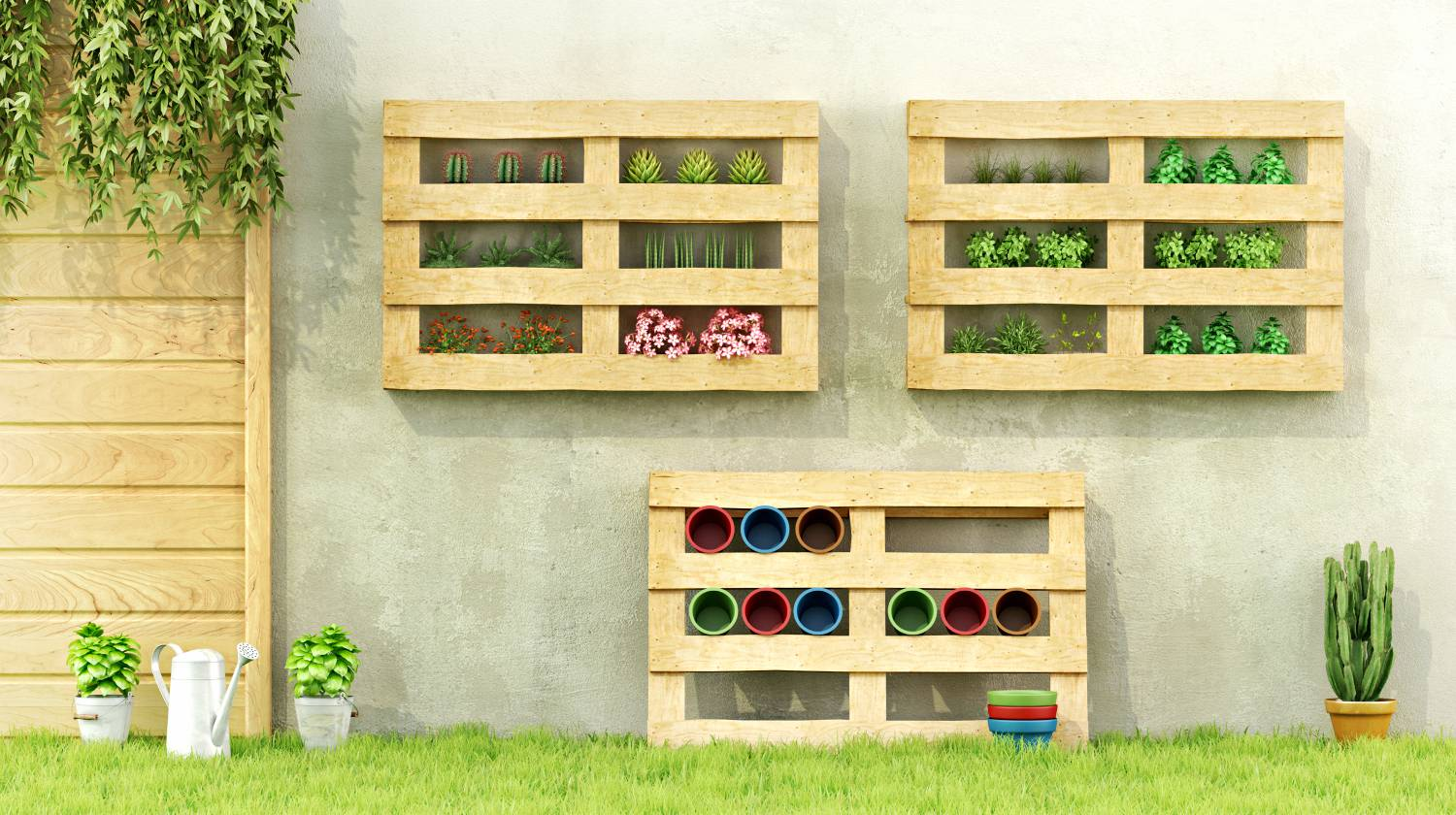 Garden with planters made of recycled wooden pallets | Creative DIY Pallet Planter Ideas For Spring | Featured