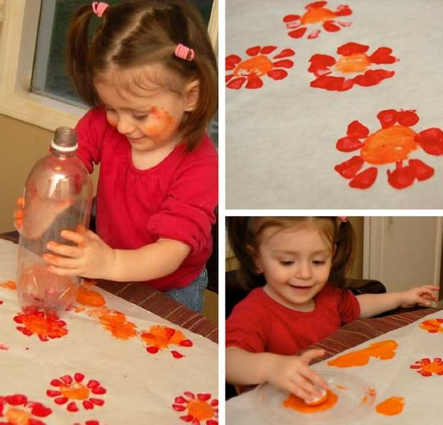 Flower Prints From Soda Bottles | Simple DIY Crafts For Kids