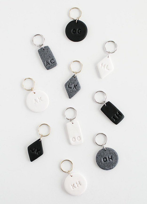 Monogrammed Clay Keychains | Easy Crafts To Make And Sell