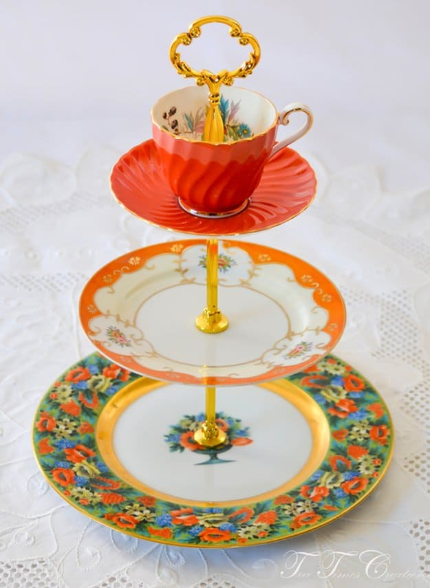 Mad Hatter Tea Or Cake Stand | Elegant DIY Tiered Cake Stand Ideas For The Holidays
