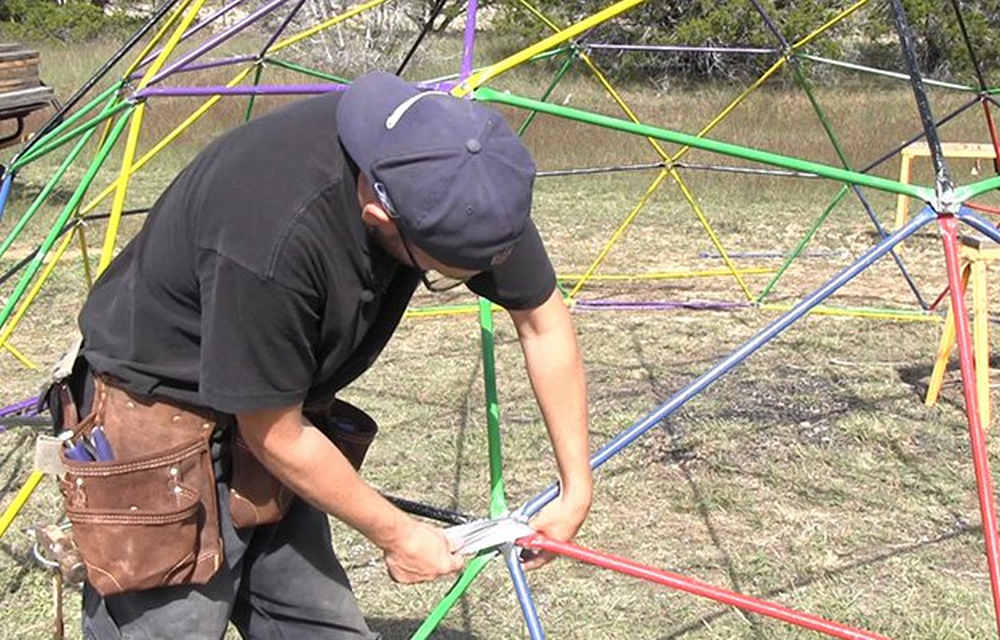 Wrapping with duct tape | How To Build A Geodesic Dome: 268 Square Feet for $300 | types of geodesic domes