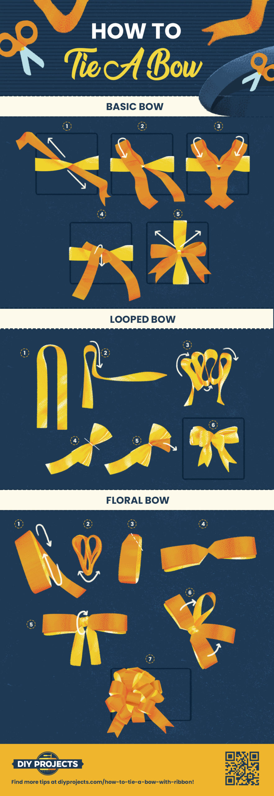 How to Tie a Bow | Make 3 Beautiful Bows With Ribbon [INFOGRAPHIC]