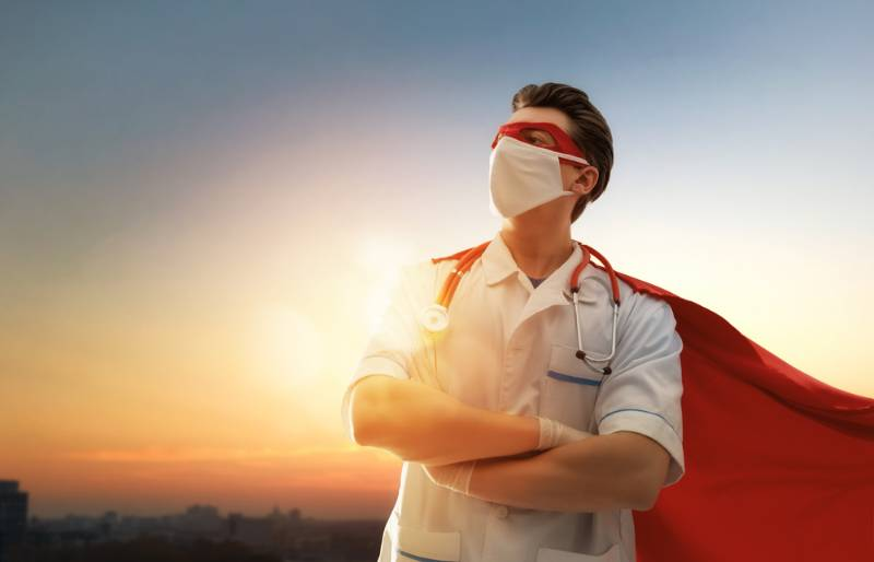doctor-wearing-facemask-superhero-cape-during | Costume