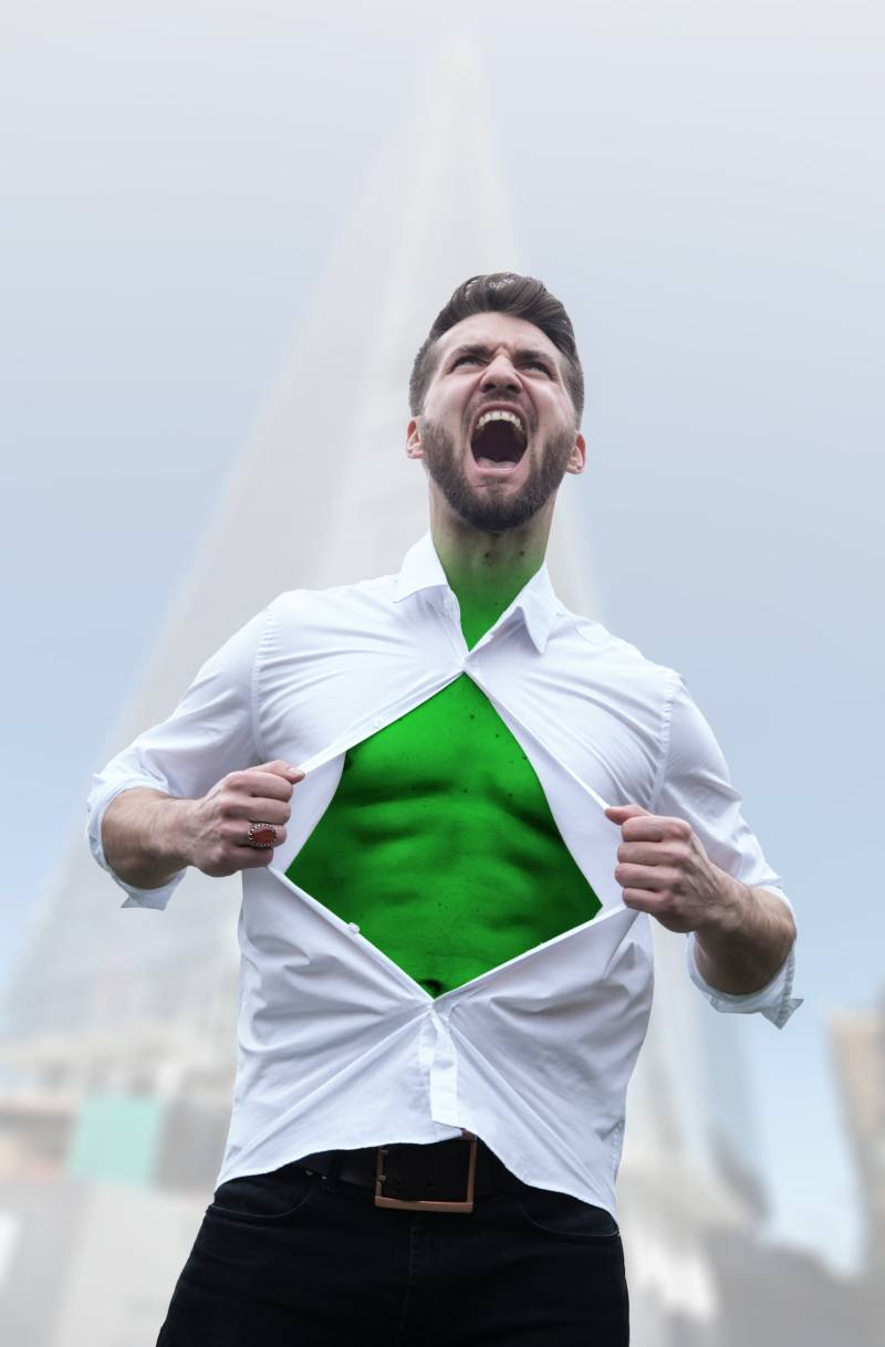 office-worker-beard-opening-his-shirt | superhero costumes for adults