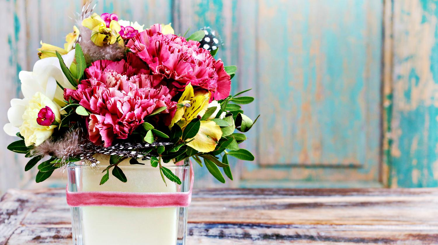 Featured | Bouquet of pink carnations and yellow alstroemeria flowers | DIY Gifts You Can Make In Under An Hour