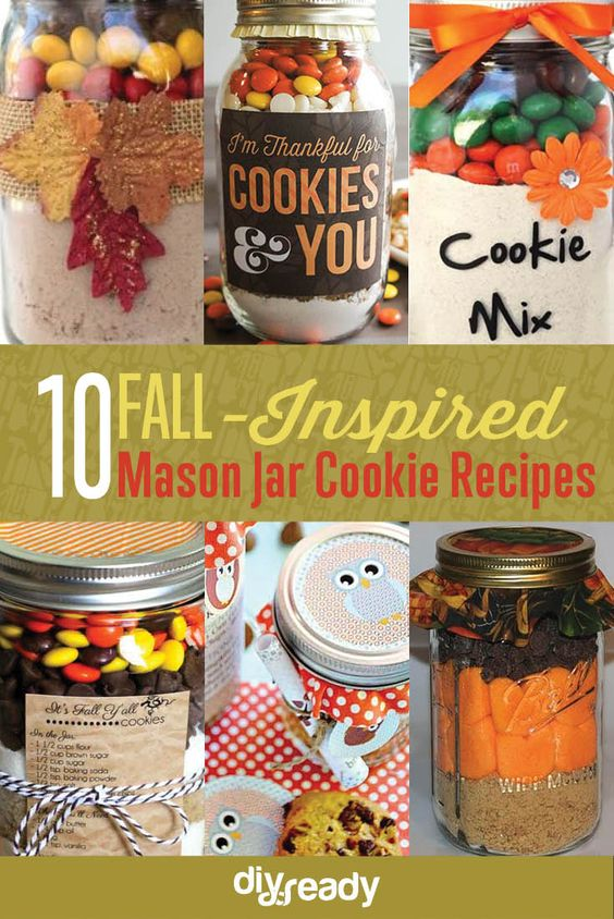 Fall-Inspired Mason Jar Cookie Recipes | https://diyprojects.com/fall-inspired-mason-jar-cookie-recipes/