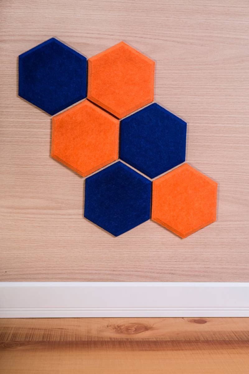 acoustic-panels-on-wall-form-honeycombs | diy soundproofing door