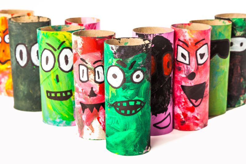 monsters-made-toilet-paper-roll-handicraft | toilet paper roll crafts for kids