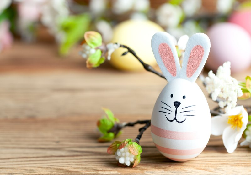 happy easter background bunny eggs flowers | cute easter egg designs