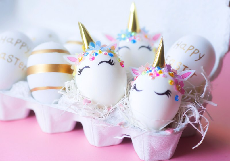 minimal easter concept eggs form unicorn | funny easter egg designs