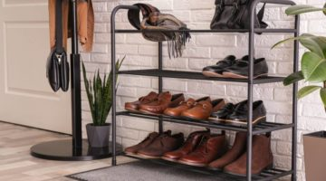 shelving-rack-stylish-shoes-accessories-near | DIY Shoe Cubby Ideas For Your Entryway | Shoe storage | Featured