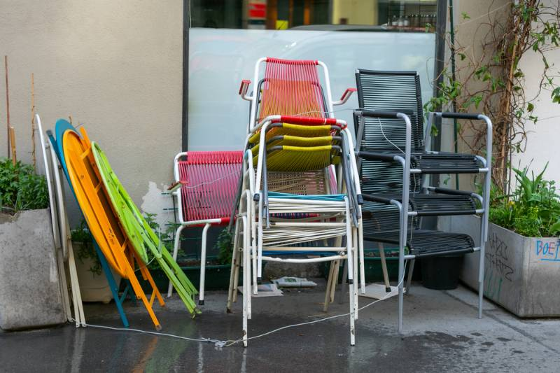 multicolored-retro-vintage-outdoor-chairs-stacked | 9 Ways To Build A DIY Bird Bath On A Budget