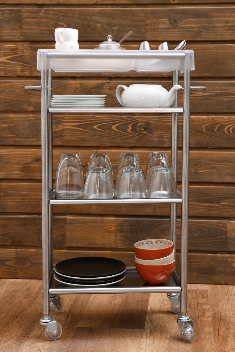 shelving-cart-tableware-kitchen | 11 DIY Coffee Bar Ideas For Your Home