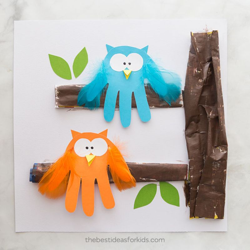 easy thanksgiving crafts for first graders | Owl-Handprint