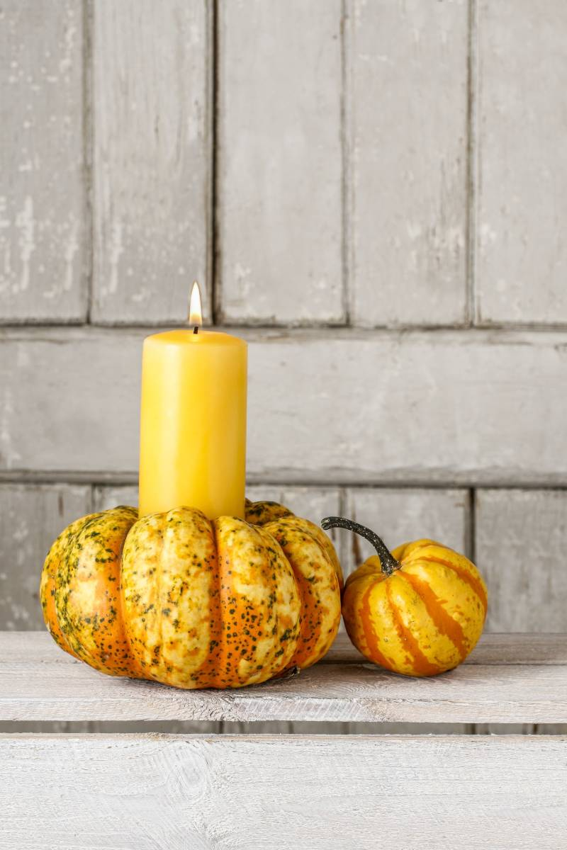 candle pumpkin on wooden background copy | real pumpkin crafts