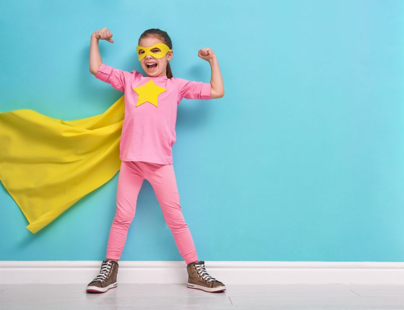 little-child-plays-superhero-kid-on | how to make a superhero costume for a girl